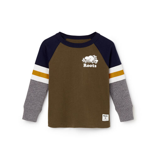 Roots-Kids T-shirts-Toddler Cooper Beaver Raglan T-shirt-Fatigue-A