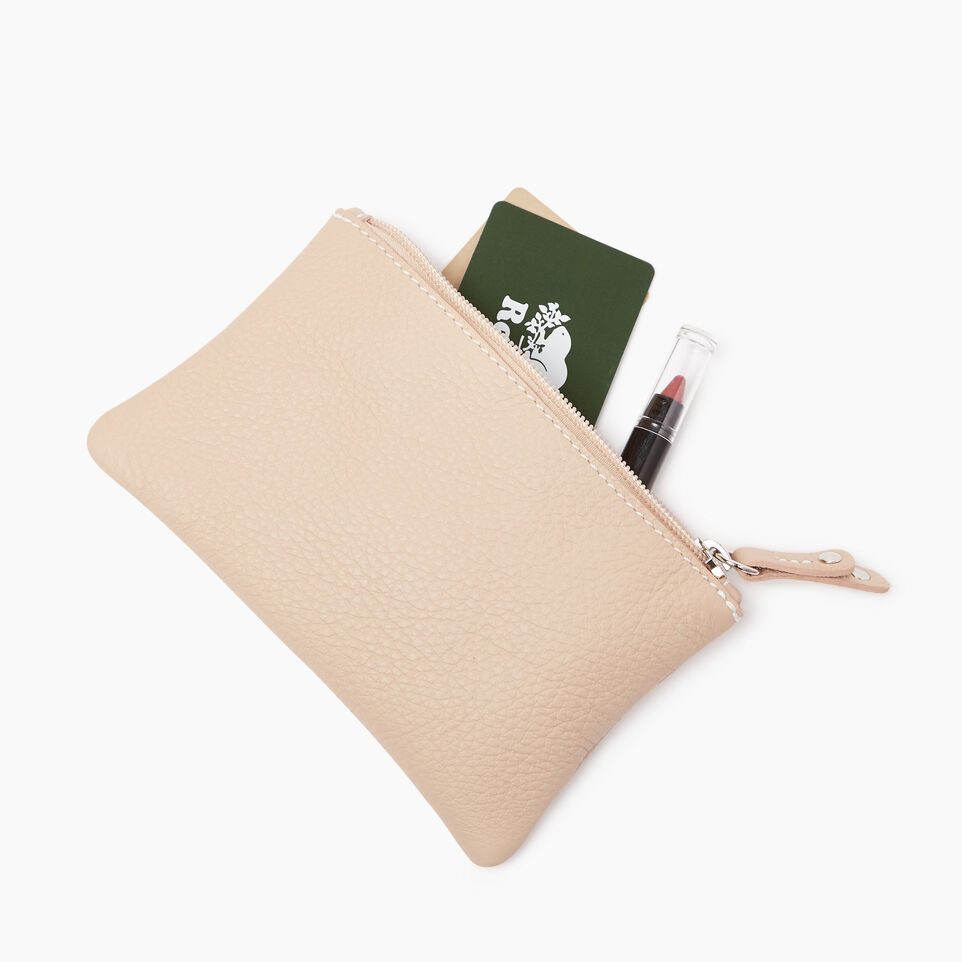 Roots-Women Leather Accessories-Medium Zip Pouch Prince-Pink Mist-B