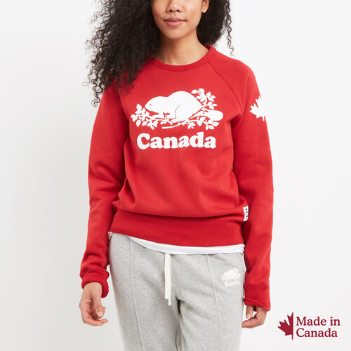 Roots-New For July Canada Collection By Roots™-Womens Cooper Canada Crewneck Sweatshirt-Sage Red-A