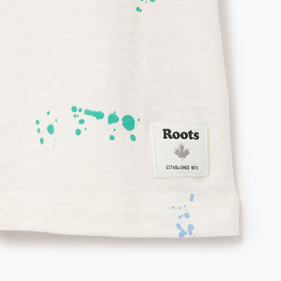 Roots-Kids Our Favourite New Arrivals-Girls Splatter Aop T-shirt-Cannoli Cream-C
