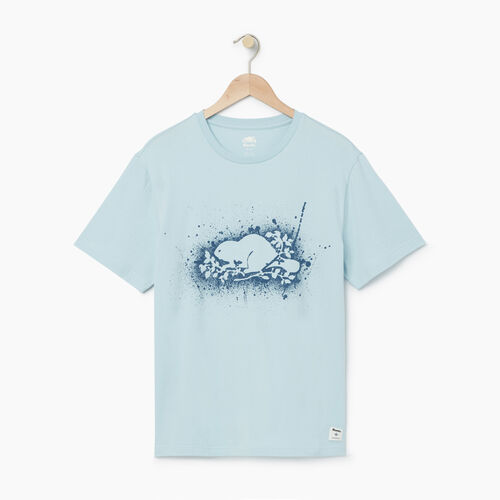 Roots-Men Graphic T-shirts-Mens Buddies T-shirt-Baby Blue-A