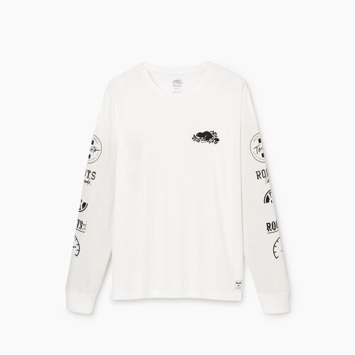 Roots-Men Our Favourite New Arrivals-Mens Symbols Classic Long Sleeve T-shirt-Ivory-A