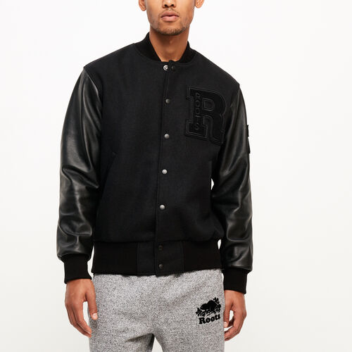 Roots-Men Clothing-Vintage Award Jacket-Black/black-A