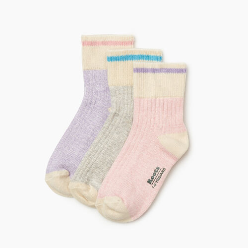 Roots-Kids Accessories-Kids Cotton Cabin Ankle Sock 3 Pack-Pink-A