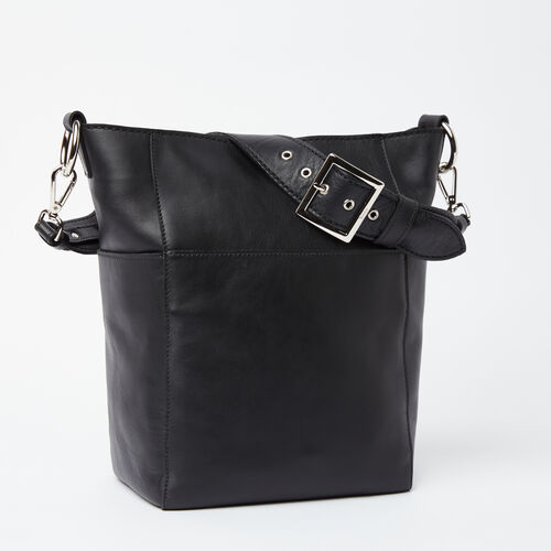 Roots-Leather Totes-Equestrian Bucket Box-Black-A
