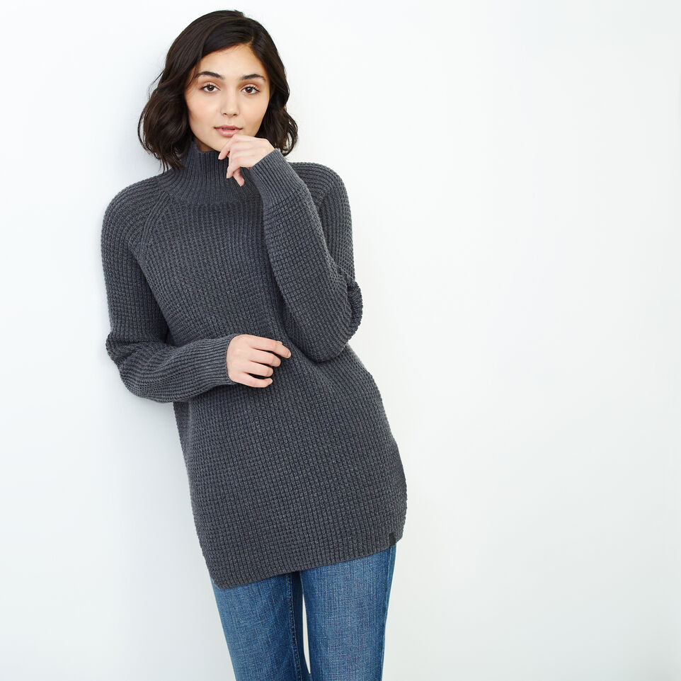 Roots-Women Categories-Fraser Waffle Sweater-Charcoal Mix-C