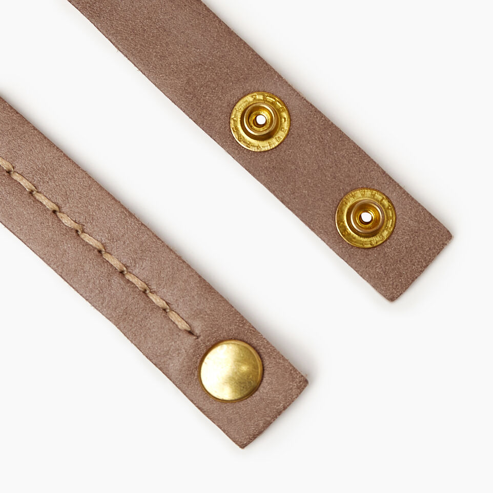 Roots-Women Leather Accessories-Double Leather Bracelet-Fawn-B