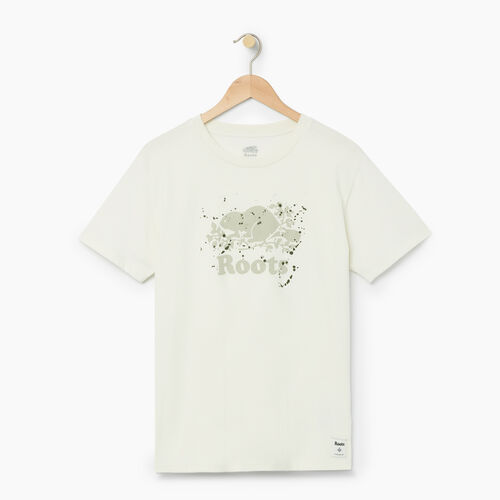 Roots-Women Categories-Womens Splatter Boyfriend T-shirt-Cannoli Cream-A