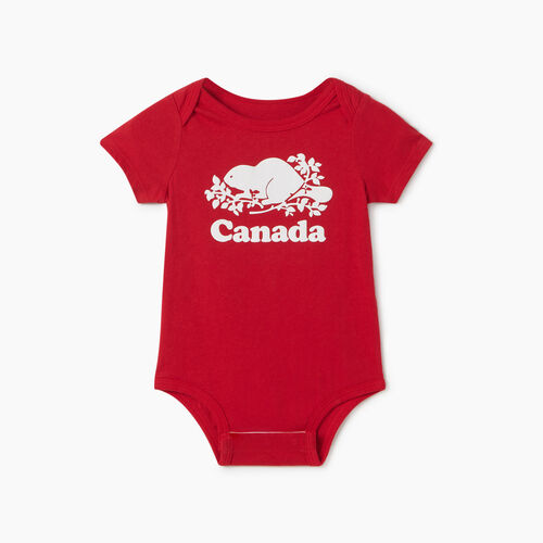 Roots-Kids Collections-Baby Canada Bodysuit-Sage Red-A