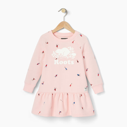 Roots-Kids Tops-Toddler Skater AOP Dress-Light Pink-A
