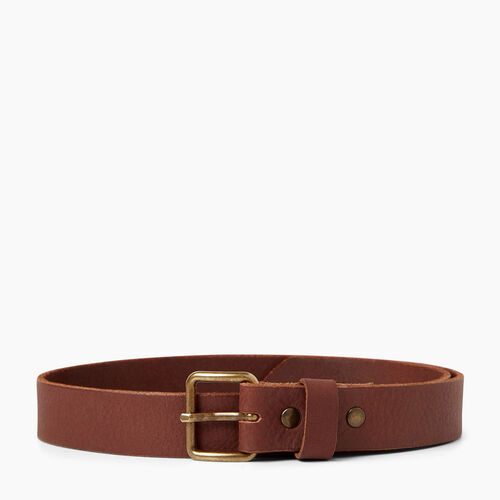 Roots-Men Leather Accessories-Roots Unisex Belt-Tan-A