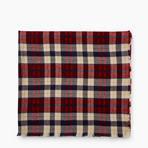 Roots-Women Accessories-Varsity Plaid Scarf-Red-A