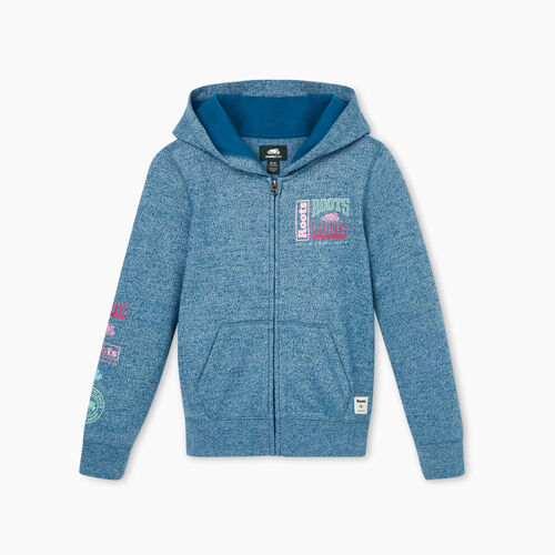 Roots-Kids Girls-Girls Stacked Full Zip Hoody-Moroccan Blue Pepper-A