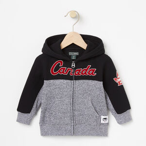 Roots-Kids Canada Collection-Baby Heritage Script Full Zip Hoody-Black-A