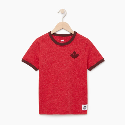 Roots-Kids Our Favourite New Arrivals-Boys Canada Cabin Ringer T-shirt-Sage Red Mix-A