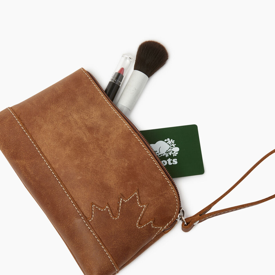 Roots-Leather Leather Accessories-Maple Leaf Zip Pouch-Natural-B