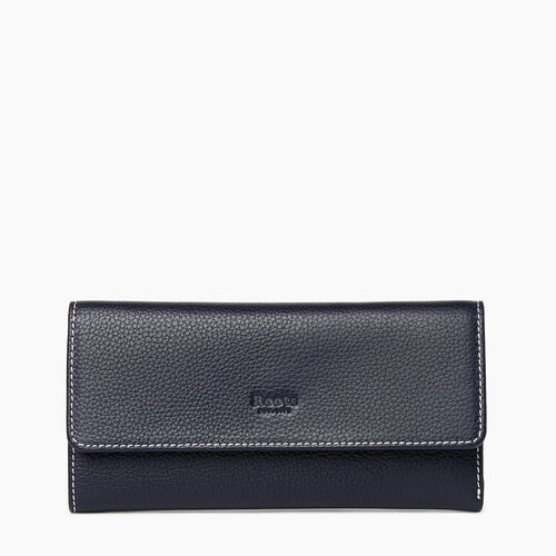 Roots-Women Wallets-Medium Trifold Clutch Cervino-Navy-A