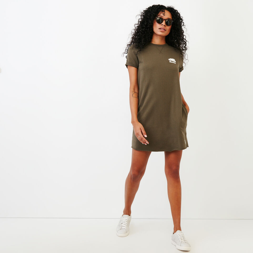 Roots-Women Clothing-Edith Cuffed Dress-Fatigue-B