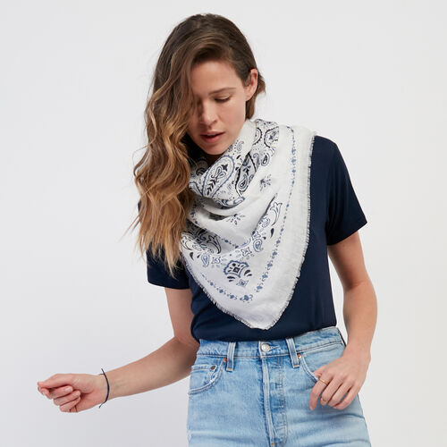 Roots-Women Accessories-Basile Bandana Scarf-Egret-A