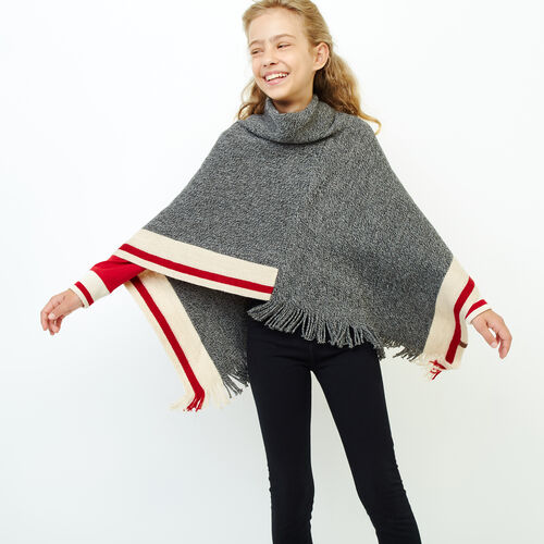 Roots-Sale Kids-Kids Cabin Poncho-Grey Oat Mix-A