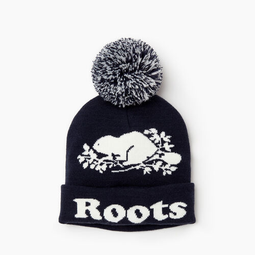 Roots-Women Categories-Cooper Beaver Pom Pom Toque-Navy-A