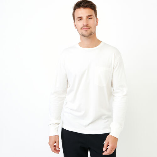 Roots-Men Our Favourite New Arrivals-Essential Pocket Longsleeve T-shirt-Ivory-A