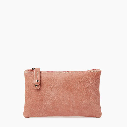 Roots-Leather  Handcrafted By Us Categories-Medium Zip Pouch Tribe-Canyon Rose-A