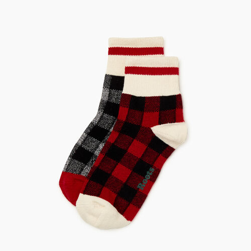 Roots-Women Socks-Womens Park Plaid Ankle Sock 2 Pack-Cabin Red-A