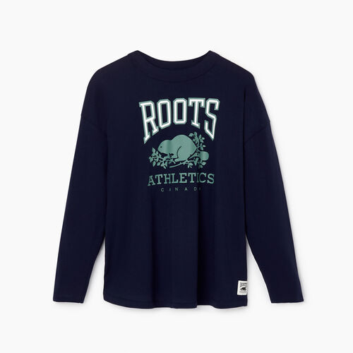 Roots-New For February Rba Collection-Womens RBA Long Sleeve T-shirt-Navy Blazer-A