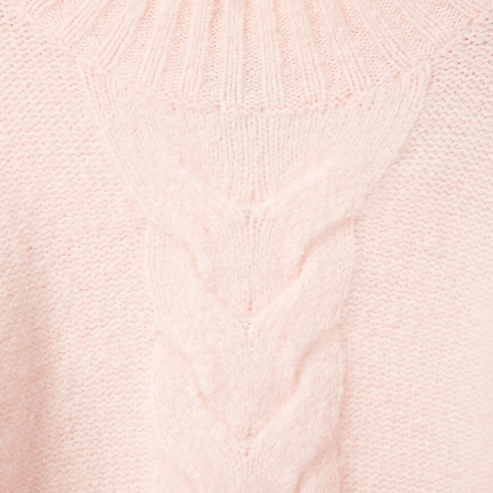 Roots-Clearance Kids-Girls Cable Knit Tunic Sweater-Light Pink-C