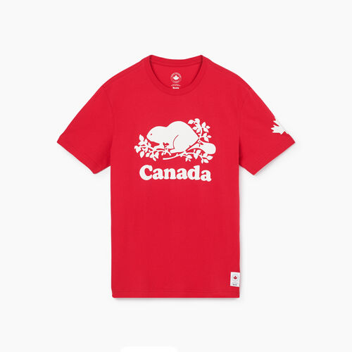 Roots-New For May Canada Collection By Roots™-Mens Cooper Canada T-shirt-Sage Red-A