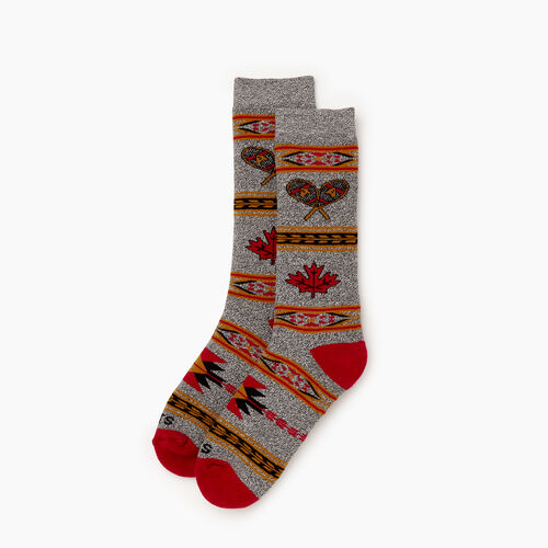 Roots-Women Socks-Winter Fun Boot Sock-Cabin Red-A
