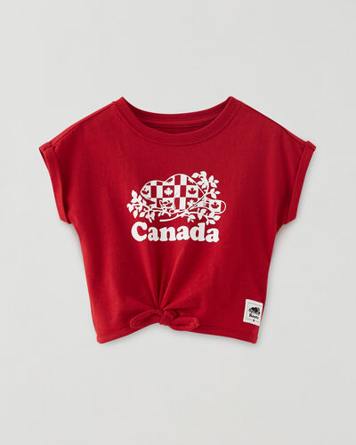 Roots-Kids Baby-Baby Cooper Canada Flag Tie T-shirt-Sage Red-A
