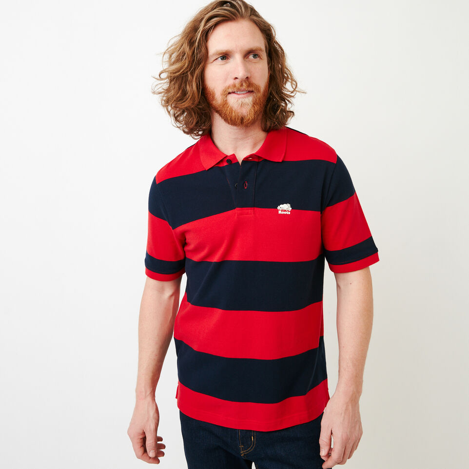 Roots-Men Categories-Heritage Striped Pique Polo-Racing Red-A