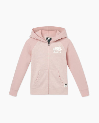 Roots-Sweats Girls-Girls Original Full Zip Hoody-Pale Mauve Pepper-A