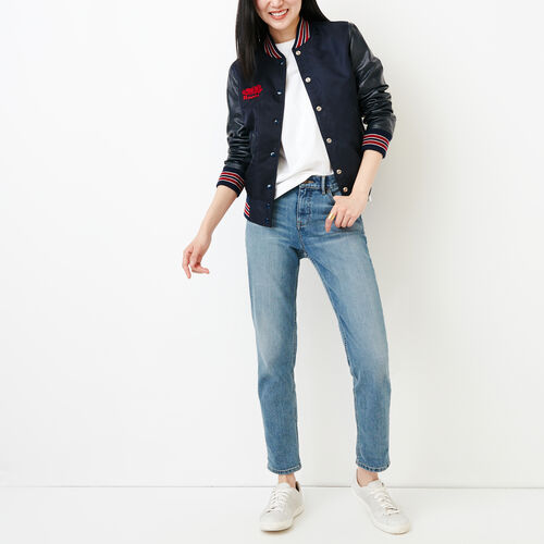 Roots-Women Categories-Retro Varsity Jacket-Navy/red-A