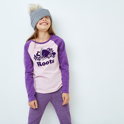 Roots-Kids Girls-Girls Buddy Raglan T-shirt-Grape Royale Pepper-A
