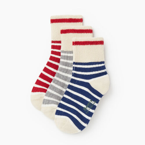 Roots-Kids Accessories-Kids Breton Cabin Sock 3 Pack-Navy-A