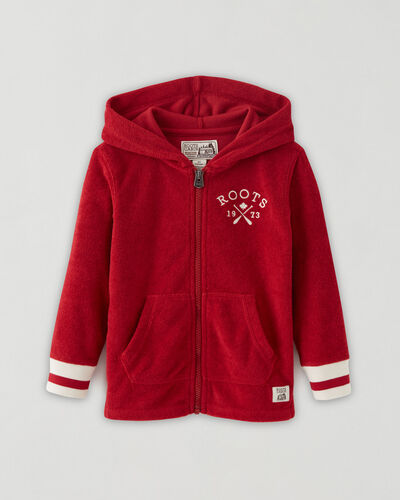Roots-Sweats Toddler Boys-Toddler Cabin Towelling Full Zip Hoodie-Cabin Red-A