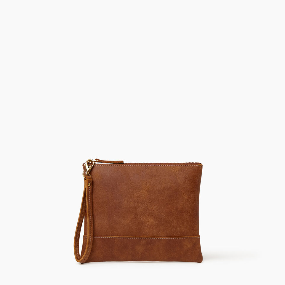Roots-Leather Categories-Junction Wristlet-Natural-A