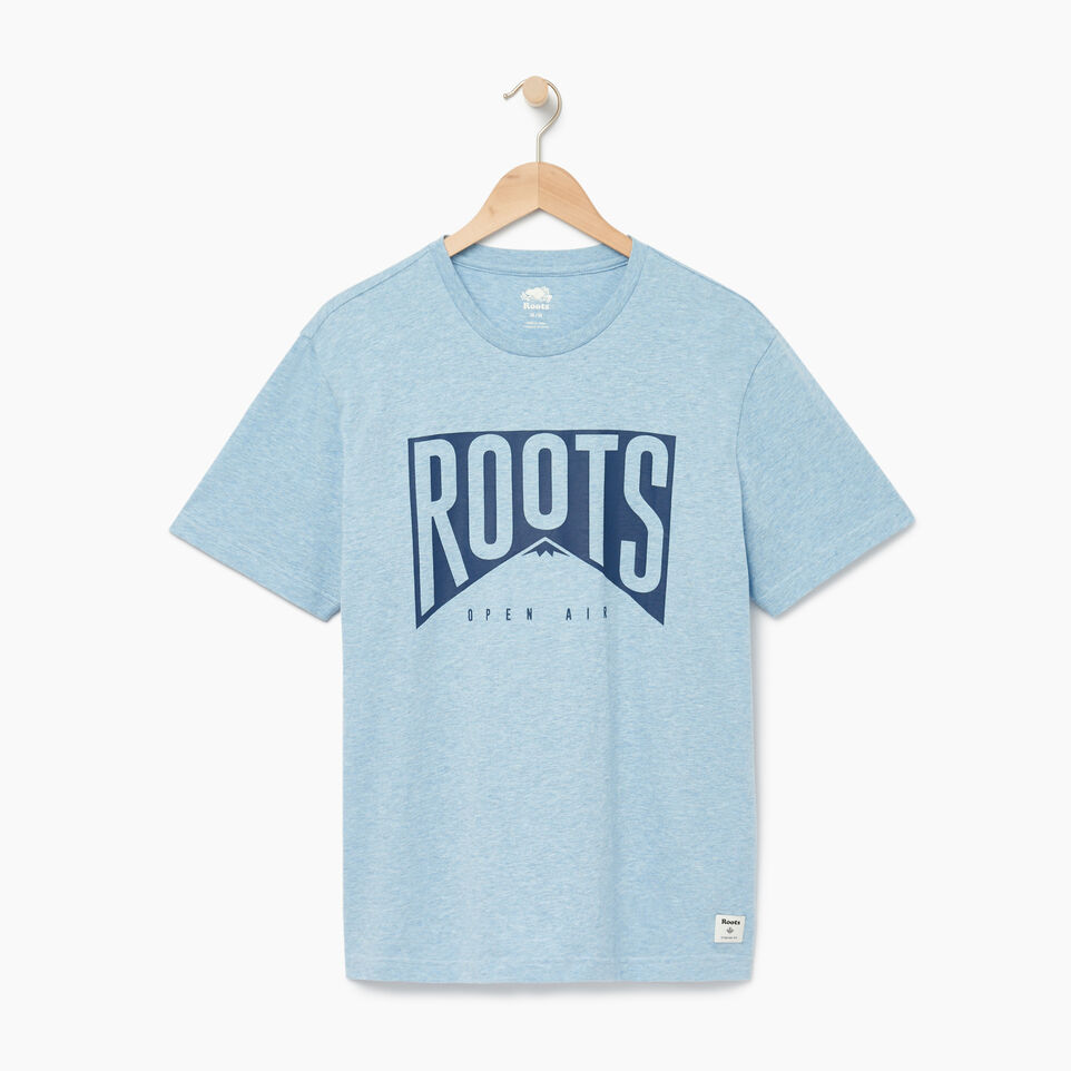 Roots-New For August Men-Mens Roots Peak T-shirt-Baby Blue Pepper-A