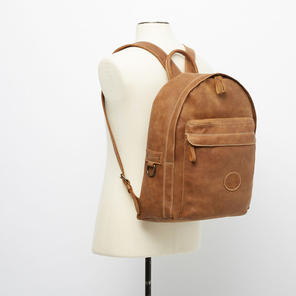 Roots-Leather Backpacks-Student Pack Tribe-Natural-B