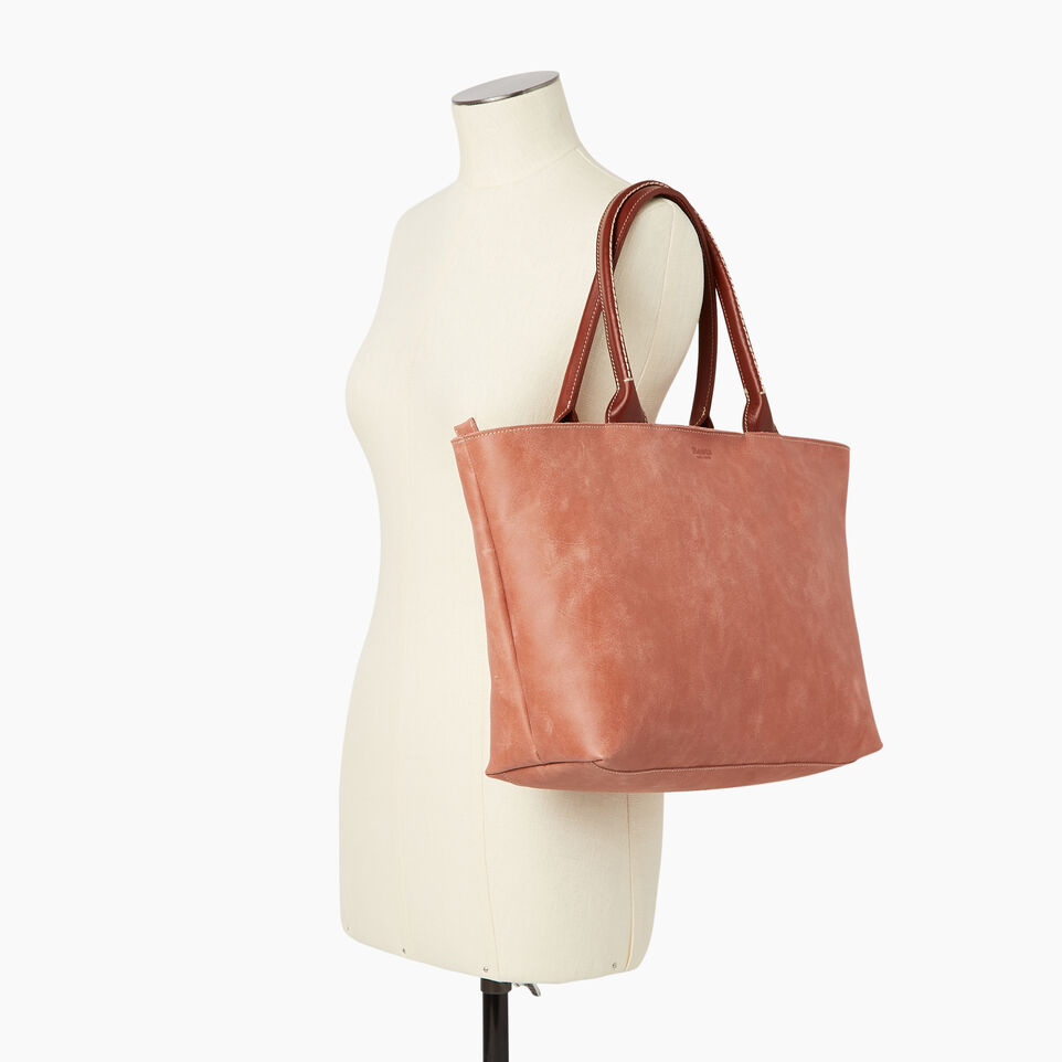Roots-Leather Our Favourite New Arrivals-Mont Royal Tote-Canyon Rose/oak-B
