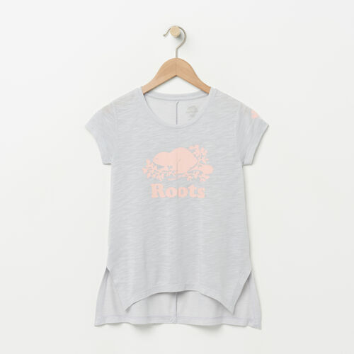 Roots-Kids Girls-Girls Lola Active Swing T-shirt-Snowy Ice Mix-A