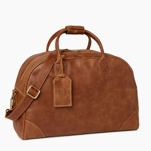 Roots-Leather Weekender Bags-Jasper Gym Bag-Natural-A
