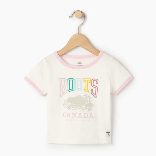 Roots-Kids Our Favourite New Arrivals-Baby Roots Classic Ringer T-shirt-Cloudy White-A