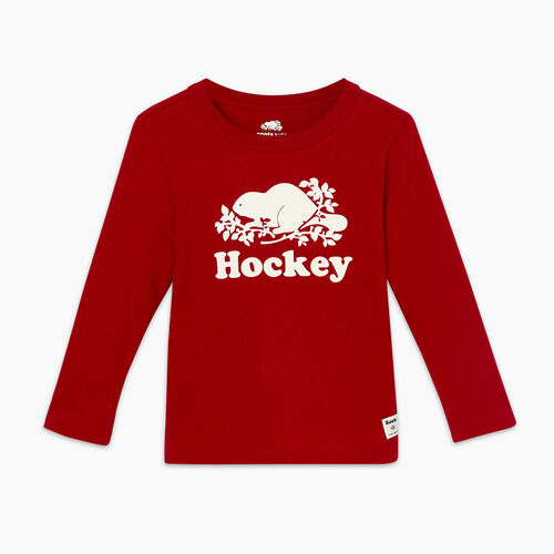 Roots-Kids Tops-Toddler Original Hockey T-shirt-Cabin Red-A