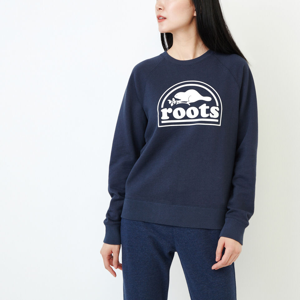 Roots-Women New Arrivals-Vault Relaxed Crew Sweatshirt-Graphite Mix-A