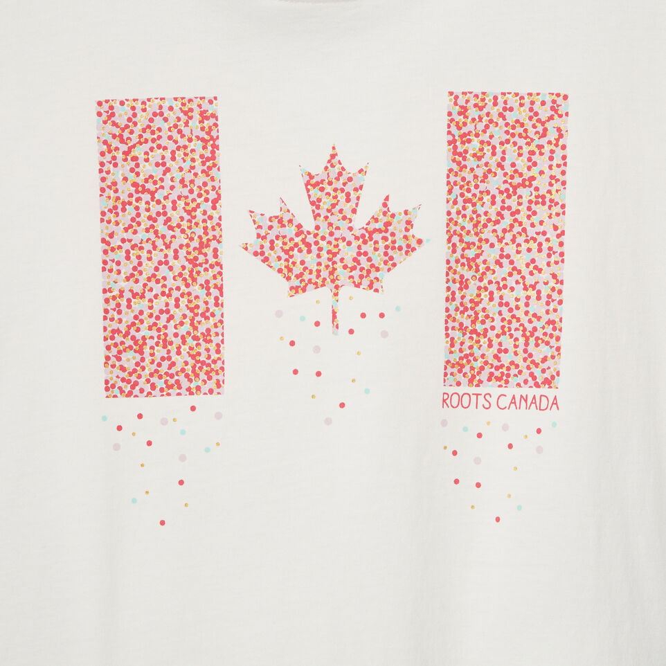 Roots-New For May Kids-Girls Confetti Canada T-shirt-Ivory-D