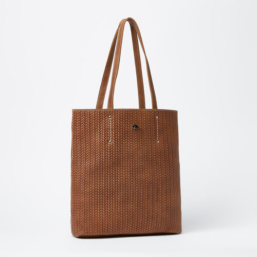Roots-Leather  Handcrafted By Us Collections-Large Downtown Tote Woven Tribe-Natural-A